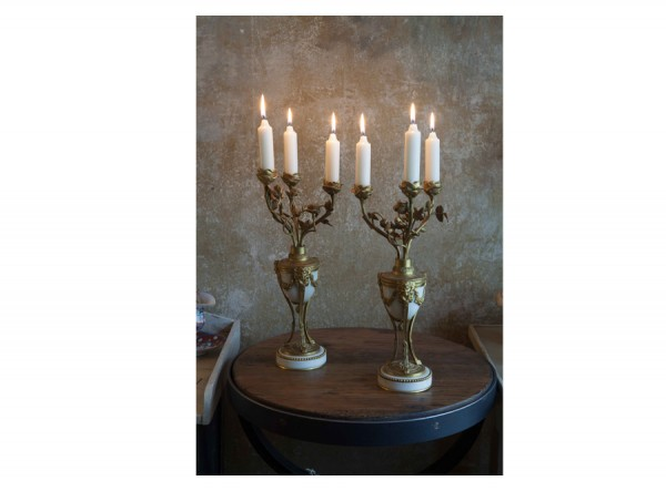 Candelabra Pair White and Gold