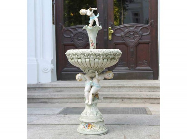 Fountain Cherubs Ceramic Hand Painted and Ornate