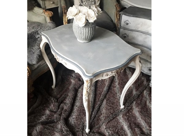 Table Antique Restored Grey Gold