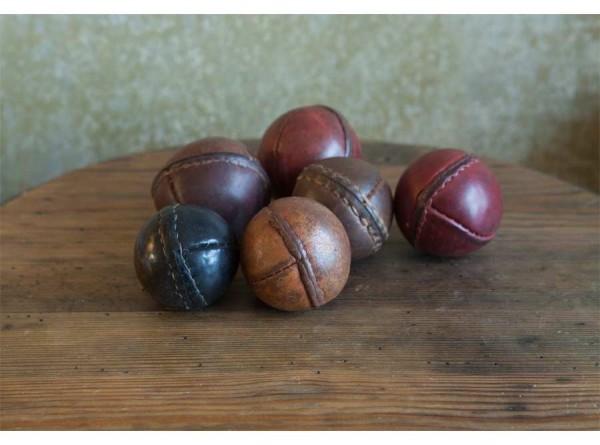 Six Vintage Leather Cricket Balls
