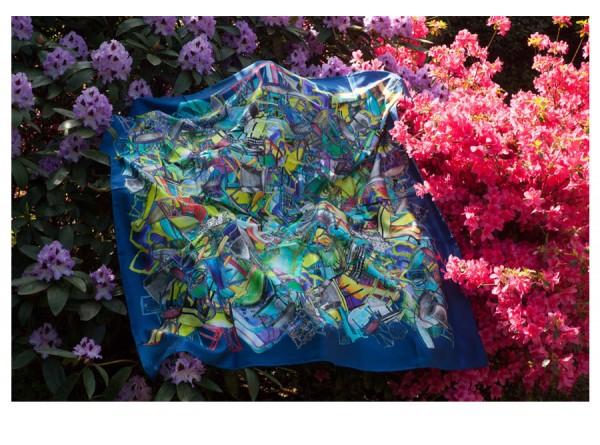 Silk Scarf Dark Blue with Interior Illustrations - Gwen