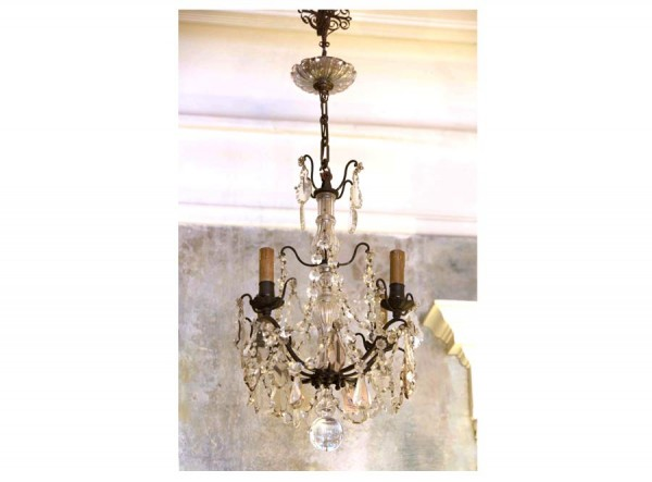 Chandelier Iron and Crystal Antique France