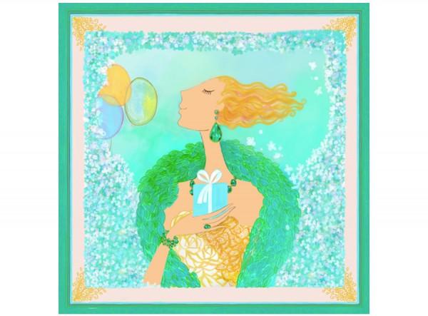 Aqua Silk Scarf Follow your Dreams