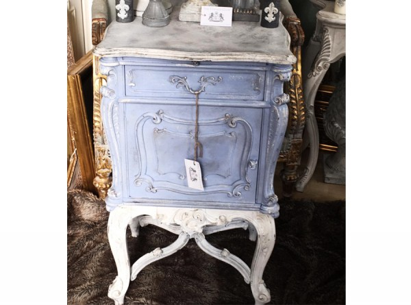 Antique Bedside Table Restored Grey Blue