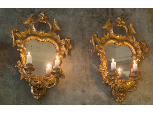 Pair Gold Mirrored Sconces