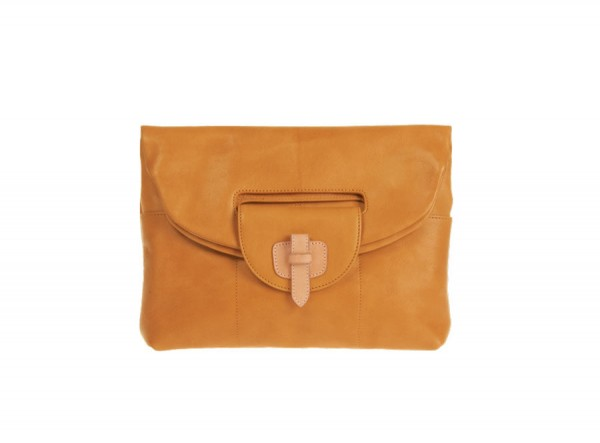 Clutch Foldover Leather Yellow : Alsego