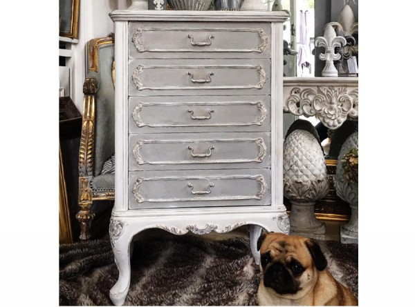 Cupboard Antique Restored Grey