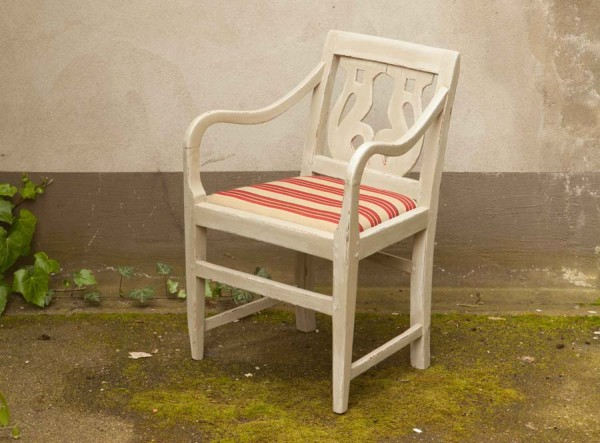 Chair in Grey Linen Country Style Antique
