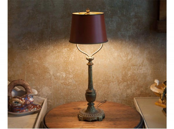 Desk Lamp Bronze Red Empire Style