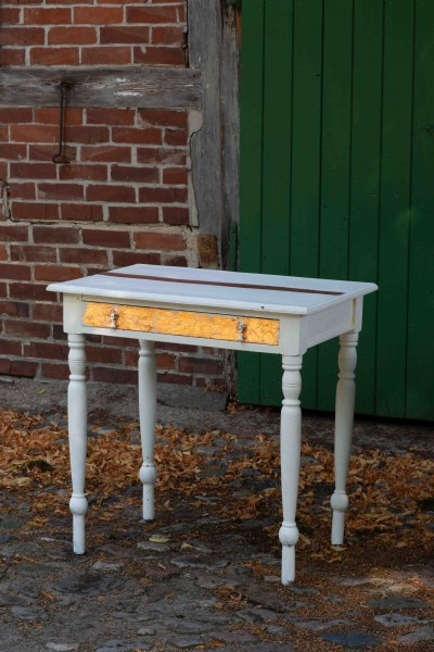 Antique Vintage Table in White and Copper Metallic Elements