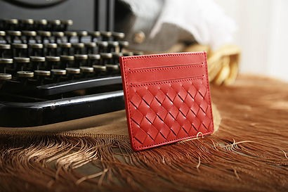 Woven Leather Card Case Wallet